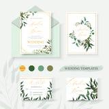 Wedding floral gold invitation card envelope save the date rsvp design. With green tropical leaf herbs eucalyptus wreath and frame. Botanical elegant decorative royalty free illustration