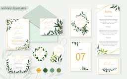 Wedding floral gold invitation card envelope save the date rsvp menu table. Label design with green tropical leaf herbs eucalyptus wreath frame. Botanical stock illustration