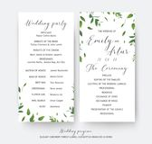 Wedding floral greenery ceremony and party program cards vector Royalty Free Stock Image