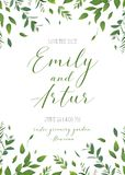 Wedding floral greenery invitation, invite, save the date card v Royalty Free Stock Photos