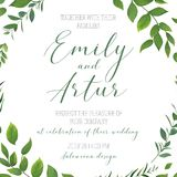Wedding floral greenery invitation, invite, save the date card v. Ector art template design. Rustic, natural style hand drawn watercolor botanical green leaves royalty free illustration