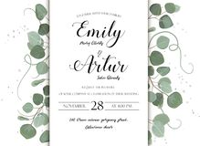 Wedding floral hand drawn invite invitation card design: Eucalyptus silver dollar branch greenery natural leaves watercolor style vector illustration