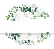Wedding floral horizontal vector design banner. White rose and hydrangea, mint eucalyptus, rustic greenery. Watercolor style collection. Mediterranean tree vector illustration