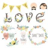 Wedding Floral Invitation Elements Stock Images