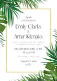 Wedding floral invitation, invite card with vector watercolor st. Yle tropical fan palm tree green leaves, exotic forest greenery herbs & elegant golden frame Royalty Free Stock Photography
