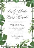 Wedding floral invitation, invite card. Vector watercolor style. Exotic palm tree green leaves, tropical forest greenery herbs, natural, botanical green Stock Photos