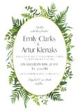 Wedding floral invitation, invite card. Vector watercolor style. Elegant design with natural, botanical green forest fern fronds, eucalyptus, palm leaves & Stock Photo