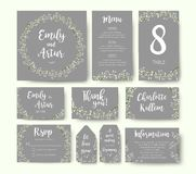 Free Wedding Floral Invitation Invite Flower Card Silver Gray Design: Royalty Free Stock Image - 107292196