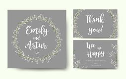 Wedding floral invitation invite flower card silver gray design Stock Photos
