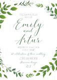 Wedding floral invitation, invite, save the date card vector tem Stock Images