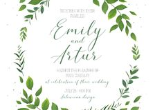 Wedding floral invitation, invite, save the date card vector tem Royalty Free Stock Photography