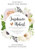 Wedding floral Invitation, invite vector watercolor card Design Royalty Free Stock Photography