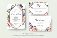 Wedding floral invitation, rsvp, thank you card elegant botanical design with lavender pink garden rose flowers, violet succulent. S, eucalyptus leaves & stock illustration