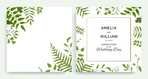 Wedding floral invite cards design with  watercolor style deferent leaves royalty free illustration