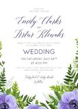Wedding floral invite, invitation card  design with elegant wate. Rcolor ultra violet anemone flowers, forest greenery ferns, plants, green leaves border Stock Photo