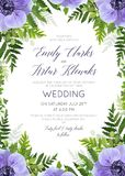 Wedding floral invite, invitation card  design with elegant wate. Rcolor ultra violet anemone flowers, forest greenery ferns, plants, green leaves frame Stock Photography