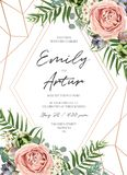 Wedding floral invite invitation card design. Lavender pink garden rose, green tropical palm leaf, succulent plant, greenery. Eucalyptus branch & rose gold royalty free illustration