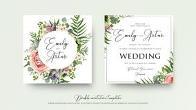 Wedding floral invite invitation card Design with lavender pink. Violet garden rose, green tropical palm leaf greenery eucalyptus branches decoration. Vector Stock Image