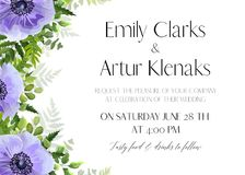 Wedding floral invite, invitation save the date card design with. Light violet watercolor anemone flowers, forest greenery ferns, plants, green leaves & herbs stock illustration