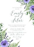 Wedding floral invite, invitation, save the date card design. Vi. Olet anemone flowers, lavender blossom, forest greenery, fern leaves, eucalyptus branches Stock Photos