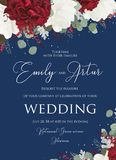 Wedding floral invite, invitation save the date card design with vector illustration