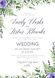 Wedding floral invite, invitation save the date card design with. Watercolor  lavender blossom, violet anemone flowers, forest greenery fern plants, green Royalty Free Stock Photography