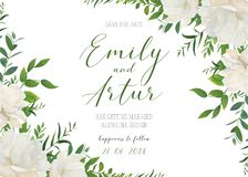 Wedding floral invite, invitation, save the date card design. White powder garden peony rose flowers, greenery leaves, eucalyptus. Branches, forest herbs royalty free illustration