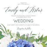 Wedding floral invite, invitation, save the date card design wit. H elegant bouquet of blue hydrangea flowers, white garden roses, green eucalyptus, lilac Stock Photos