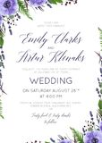 Wedding floral invite, invitation, save the date card design wit. H watercolor lavender blossom, violet anemone flowers, forest greenery fern, purple agonis stock illustration