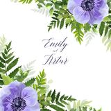 Wedding floral invite, invitation, save the date card vector des. Ign with elegant ultra violet, blue garden anemone flowers, greenery forest ferns, green leaves Royalty Free Stock Images