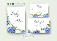 Wedding floral invite, invitation, save the date, thank you, rsvp, card design with elegant, blue hydrangea flowers, white garden. Roses, green eucalyptus Royalty Free Stock Images