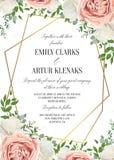 Wedding floral invite, invtation card design. Watercolor blush p royalty free illustration