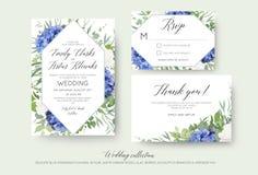 Wedding floral invite, rsvp, thank you cards design with elegant royalty free illustration