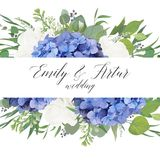 Wedding floral invite, save the date card design with elegant bl stock illustration