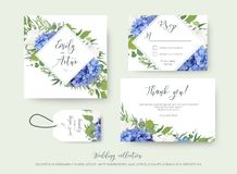 Wedding floral invite, save the date, thank you, rsvp, label card design with elegant blue hydrangea flowers, white garden roses, stock illustration