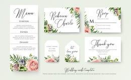 Wedding floral invite thank you, rsvp label cards Design: lavend. Er pink violet garden rose, green tropical palm leaf greenery eucalyptus branches decoration Stock Photography