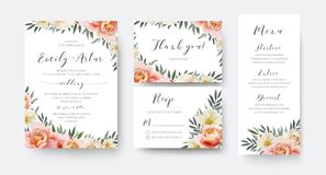 Wedding floral invite, thank you, rsvp menu card design with gar vector illustration