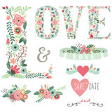 Wedding Floral Love Design Elements Stock Photography
