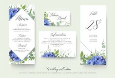 Wedding floral personal menu, place, information, table number c. Ard design set with elegant blue hydrangea flowers, white garden roses, green eucalyptus, lilac royalty free illustration