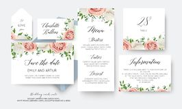 Wedding floral save the date, menu, label, table number card big. Vector design with creamy white garden peony flowers blush pink roses, eucalyptus green leaves vector illustration