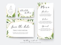 Wedding floral save the date, menu, place card & label template. Set. Vector modern, botanical card design with green forest fern leaves, greenery herbs border stock illustration