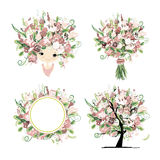 Wedding floral set for your design Royalty Free Stock Photos