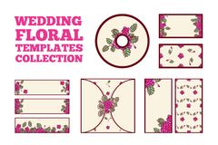 Wedding floral template collection. Invitation card, three horisontal banners, two vertical banners, cd cover, two cards Stock Photography