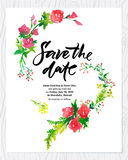 Wedding floral watercolor card Save the date.