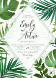 Wedding floral watercolor invite, invitation, save the date card. Design with palm tree tropical branches with greenery leaves & green forest plants transparent stock illustration