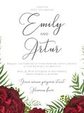 Wedding floral watercolor invite, save the date card design with. Red, burgundy garden rose, palm tree leaves, green berries, elegant herbal greenery  decor Stock Photography