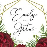 Wedding floral watercolor invite save the date card design with. Red garden rose, palm tree leaves, green berry, elegant herbal greenery & golden geometrical Stock Images