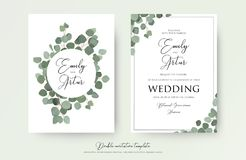 Wedding floral watercolor style double invite, invitation, save the date card design with cute Eucalyptus tree branches with green