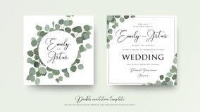 Wedding floral watercolor style double invite, invitation, save. The date card design with cute silver dollar eucalyptus tree branches with greenery leaves Royalty Free Stock Photo