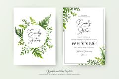 Wedding floral watercolor style double invite, invitation, save. The date card design with forest greenery herbs, leaves, eucalyptus branches, fern fronds Royalty Free Stock Photo